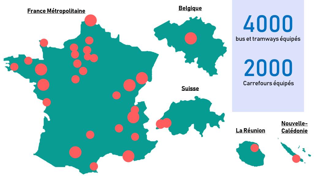 Systèmes PRIOCOM déployés en France et à l'étranger - priorité aux feux pour bus et tramways par radio courte portée