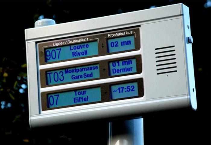 Gamme de bornes visuelles et sonores, autonomes en énergie, pour l'information de voyageurs aux arrêts de bus