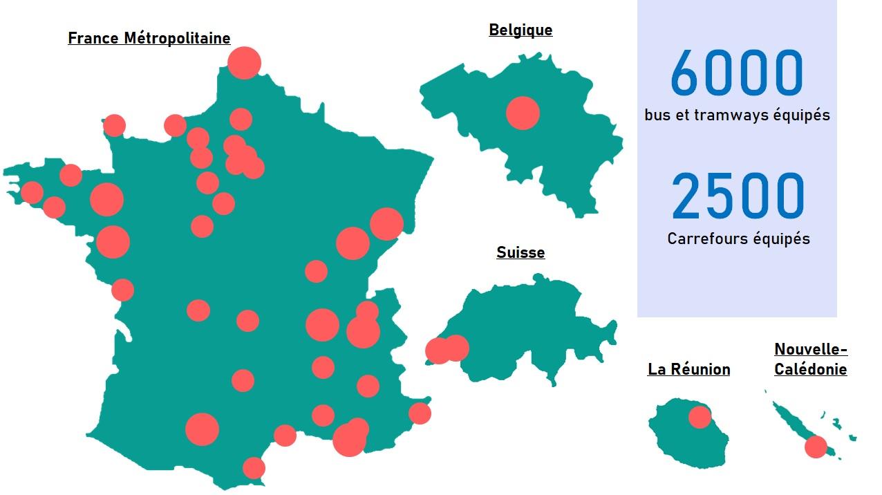 Systèmes PRIOCOM déployés en France et à l'étranger - priorité aux feux pour véhicules de transport en commun par radio courte portée